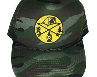 Camping Tent Camo Camouflage Lantern  Snapback Mesh Trucker Hat Cap