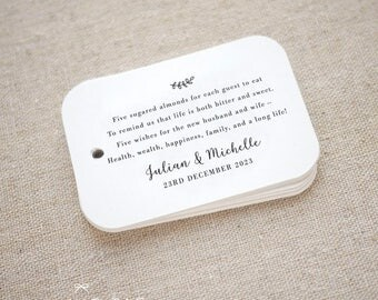 Sugared Almonds Personalized Gift Tags - Jordan Almond Favor Tags - Wedding Favor Tag - Wedding Bomboniere - Set of 15 (Item code: J727)