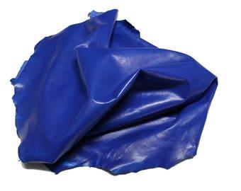 Italian Lambskin leather  hide skin pelt shiny ROYAL BLUE 7sqf