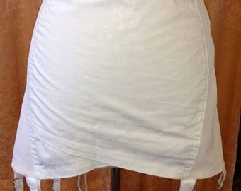 1960s Daisy Fresh White Long-waisted Girdle with Cute Daisy Print Front Panel