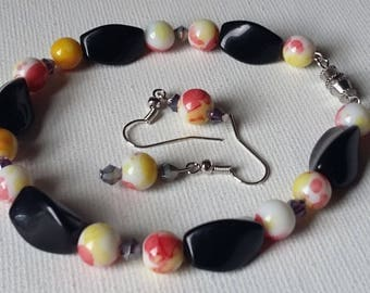 Red, Yellow, White, and Swarovski crystal beaded bracelet and earrings set