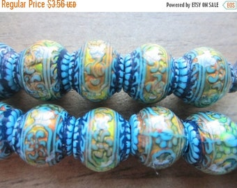 ON SALE Mood Bead Mirage Bead Polymer Clay Bead Heat Sensitive Bead Blue Mystique 12.5mm x 11mm  QTY 1