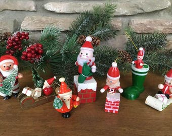 Toy Wooden Santa Ornaments / Wood Toy Christmas Tree Ornaments  /70's  Kitschy Christmas  /   Lot of 7