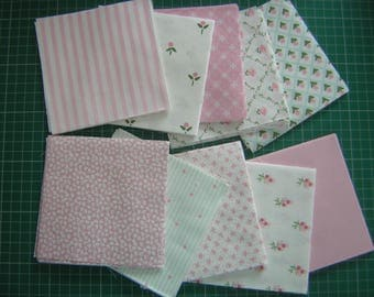 Laura Ashley patchwork pack, pink mix, , 80 pieces each 4.7 inches (12cm) square. 100% cotton fabrics. Discontinued fabrics. New.