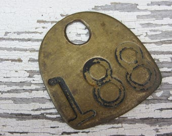 Number 188 Tag Antique Cattle Tag #188 Large Vintage Brass Tag Cow Tag Industrial Tag House Number Apartment Lucky Numbers Keychain Tag A