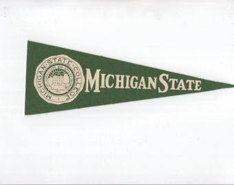 Vintage College Pennant Michigan State University Small 9 x 3 MINI Felt School Pennant Flag 1940s-1960s Dorm Collectible Sports Decor