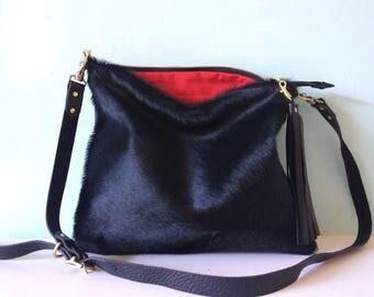 Black leather handbag, black cowhair bag, black leather and cowhair purse
