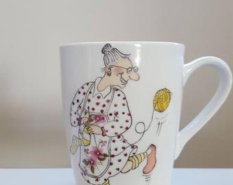 Hand painted bone china mug