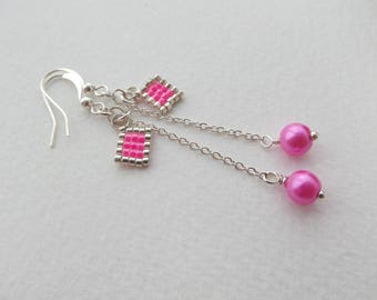 Hot Pink Pearl Earrings - Pink and Silver Earrings, Bright pink and silver, dangle chain drop earrings.