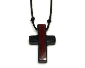 Mens Jewelry Cross, Minimalist Cross Necklace, Ebony & Bloodwood Cross, Cross Necklace Men, Men's Wooden Cross Necklace, Gifts Under 20