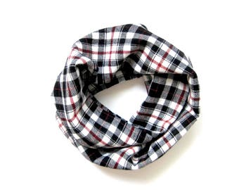 Flannel Scarf, Toddler Scarf, Plaid Scarf, Baby Bib Scarf, Unisex Scarf, Children Clothing, Toddler Gift, Under 20 Dollars, Ready to Ship
