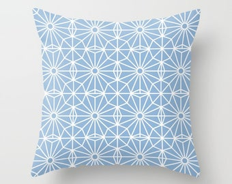 36 colours, Powder Blue and White, Asymmetric Pattern Pillow, Mid Century Modern decor, Nordic, Faux Down Insert, Indoor or Outdoor cover