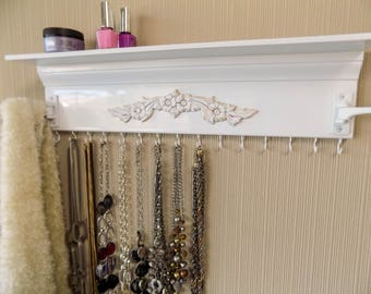 """White Jewelry Organizer w/ shelf and 2 swing out arms great for scarves or tons more necklaces.15 hooks on the bottom   20"""" necklace holder"""