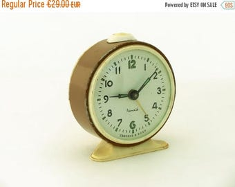 SALE 20% off Vintage alarm clock, clock made in Russia, 70s brown / chocolate alarm clock, mechanical alarm clock