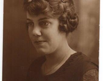 Roseau Minnesota Edwardian Woman With Nice Hairstyle Studio Portrait Antique Photo Vintage Fashion Photograph