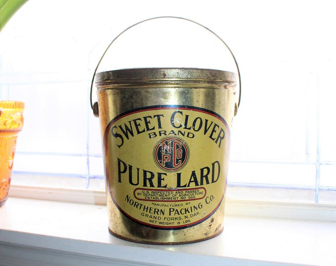 Large Vintage Sweet Clover Pure Lard Tin Grand Forks ND