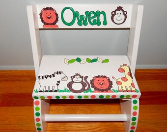 Jungle Safari Animals Step stool - Hand painted and Personalized