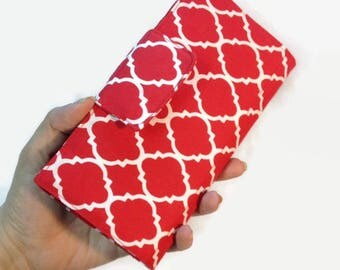 Credit Card Holder, 12 - 38 Slot Credit Card Holder, Loyalty Card Holder, Credit Card Wallet, Women's Bi fold Wallet, Red Wallet, Quatrefoil