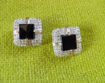 Signed PANETTA Clip Earrings With the Look of Onyx and Diamonds