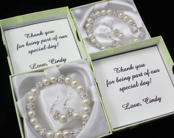 Bridesmaid Gift, Pearl Bracelet, Strand Pearl Necklace, pearl Earrings, personalized note-card jewelry box, Bridesmaid Gifts, jewelry sets