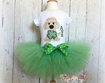 St. Patrick's Day outfit for girls - St. Patrick's Day puppy outfit - 1st St. Patty's Day - Puppy with clover - green clover tutu outfit