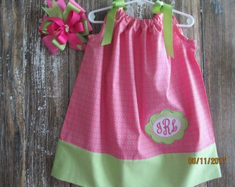 Monogrammed Pillowcase Dress with Coordinating Hair Bow