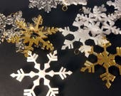 CLEARANCE Snowflake Holiday Ornament, Qty. 5, laser cut acrylic ornaments