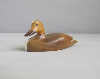 Wooden Duck - Grained Wooden Duck - Duck Ornament - Duck Figurine