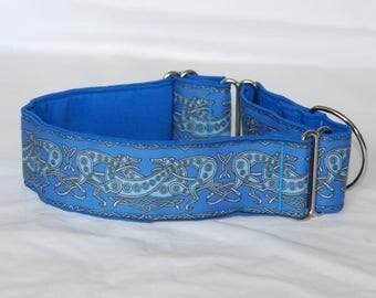 "2"" Martingale Dog Collar Celtic Greyhound - Blue"