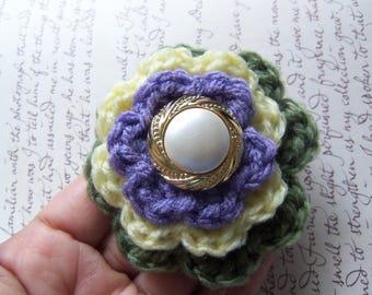 Crochet Flower Brooch. Handmade Layered Flower Brooch. Yellow Flower Brooch.