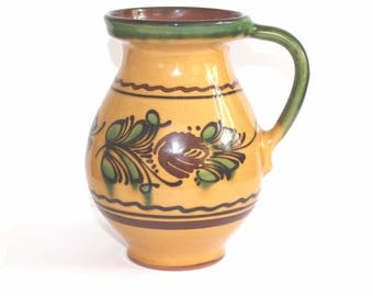 Slipware pottery jug / pitcher. Hungarian pottery. Redware pottery jug / pitcher. Hand painted folk art jug