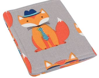 Slim Womens Credit Card Wallet - Cute Fox Fabric - A Perfect Stocking Stuffer!
