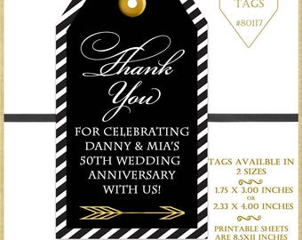 50th Anniversary Tags, Wedding Favor Tags, DIY Printable Tags, Birthday Party Favor Tags, Black and Gold Printable Tags, Digital Tag, #80117