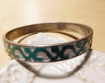Vintage Turquoise and White Enamel Luckey Brand Bangle Bracelet