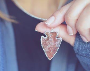 Jasper Arrowhead Edged in Silver Necklace