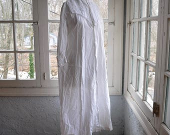 """Antique Long White Cotton Nightgown With Bib Front/Button Front Crisp Cotton """"Night Shirt"""""""
