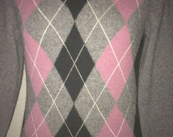 vintage 100%cashmere argyle sweater V-neck  size small color gray