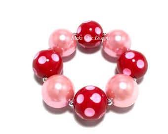 Toddler or Girls Valentine's Day Chunky Bracelet - Red and Pink Polkadot chunky bracelet - Girls Love bracelet - Toddler Pink Bracelet