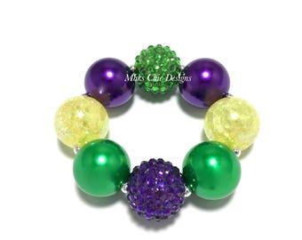 Toddler or Girls Purple, Yellow and Green Chunky Bracelet - Girls Mardi Gras Chunky bracelet - Carnival Bracelet - Dark Purple and Yellow