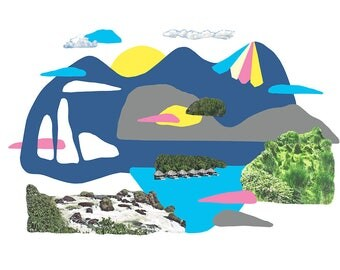 Place Myth (Dark Blue Mountain with Cut-outs)