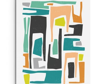 Art Print - Colorful Elongated Modern and Abstract Shapes - Linocut Block Print - Digitally Printed