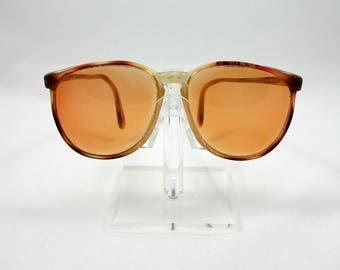 Vintage 1980s orange tortoise shell plastic sunglasses, round yellow lenses, Jimmy Connors Eye Wear, non prescription shades, eye glasses