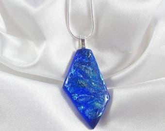 THE ABYSS Royal blue dichroic fused glass jewelry pendant with necklace