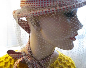 Vintage Ladies Veil/Sash Red Polka Dot/Tan Silk TOPPER HAT by Ere Nouvelle of New York