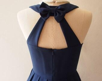 Love Potion - Navy Party Dress Backless Dress Navy Prom Dress Bridesmaid Dress Vintage Style La La Land Dress Sundress