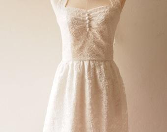 White Lace Dress Off White Vintage Dress Lace Wedding Dress Halter or Shoulder straps Marie Antoinette Dress Romantic Dress Victorian Dress