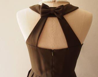 SALE USD20 - SIze S - Dark Camo Green Dress Backless Bridesmaid Dress Short Bridesmaid Dress Prom Dress Vintage Inspired Sundress