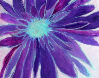 "Small Abstract Floral, Painting on Paper, Flower Art, ""Bloom Purple"" 12x12"""
