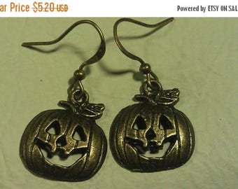 On Sale at Etsy PRICE SLASH,Was 9.53 Now 5.20, Earrings, Brass Smiling Pumpkins, Cute, Sweet Little Pumpkins Need Good Home