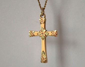 Vintage Tri Color Gold Filled Cross Necklace Signed